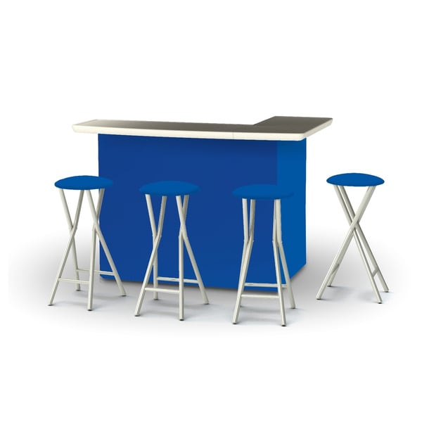 Best of Times Solid Colors Portable Patio Bar with Stools