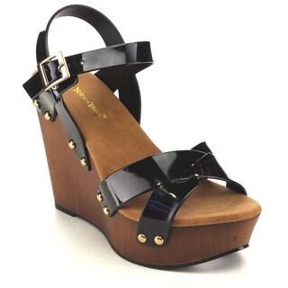 Beston EA96 Women's Criss Cross Wedge Sandals