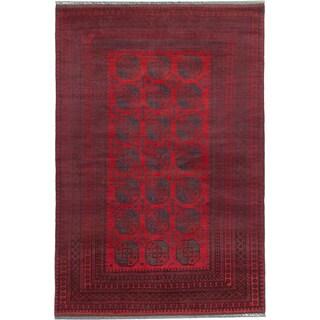 ecarpetgallery Khal Mohammadi Black/ Red Wool Rug (6'8 x 9'11)