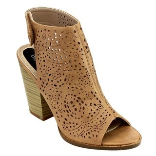 Beston EB04 Women's Perforated Velcro Strap Cut-out Chunky Ankle Booties