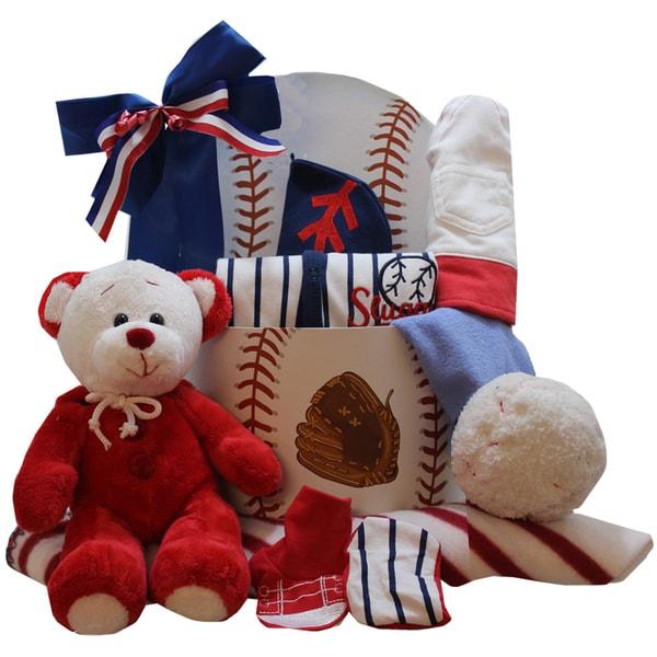 American All Star New Baby Boy Gift Basket with Teddy Bear