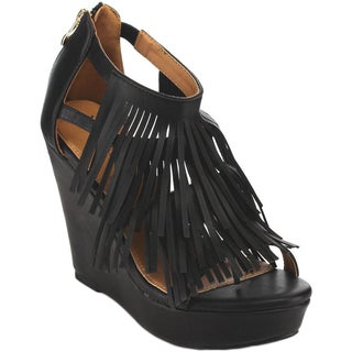 Beston EA95 Women's Chic Fringe Cut-out Zip Slip-on Wedge Sandal