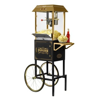 Nostalgia CCP1000BLK 59-Inch Tall Vintage Collection 10-ounce Popcorn Cart