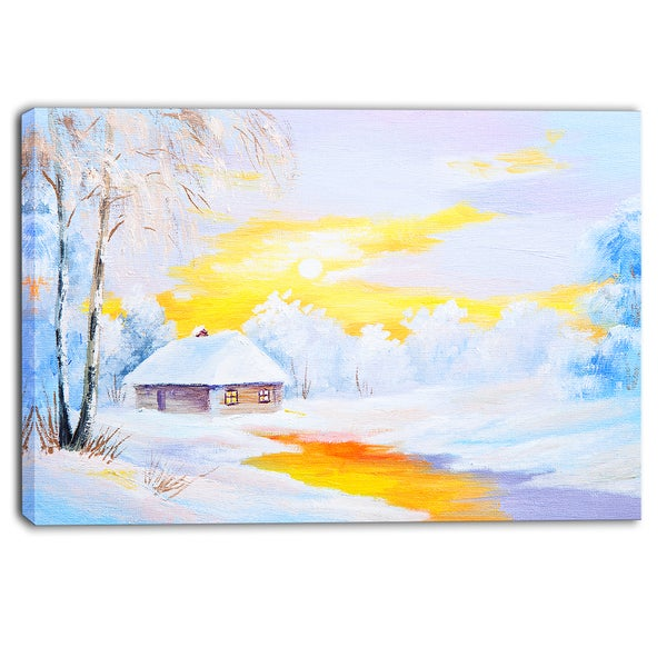 Designart - Frozen River in Winter - Landscape Canvas Art Print