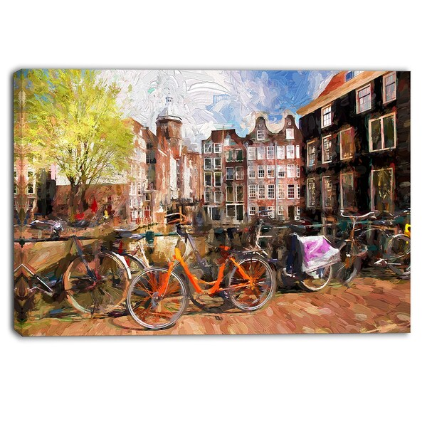 Designart - Amsterdam City Artwork - Landscape Large Canvas Print