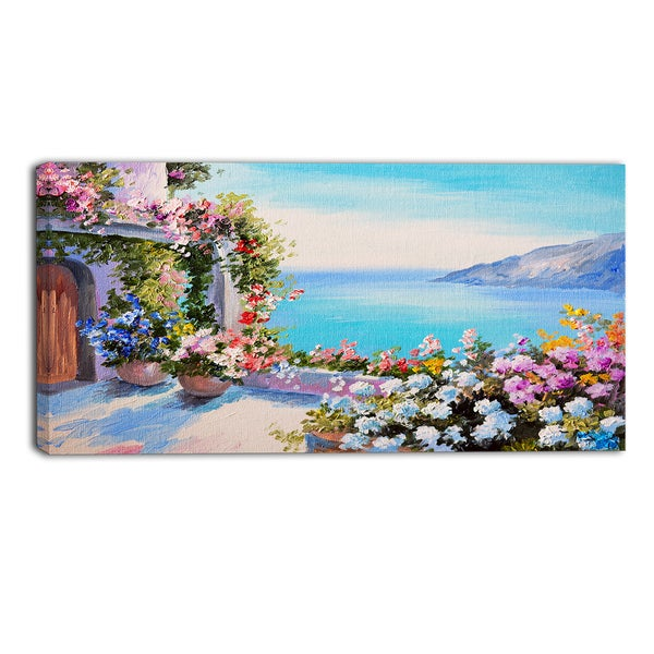 Designart - Sea and Flowers - Landscape Canvas Art Print
