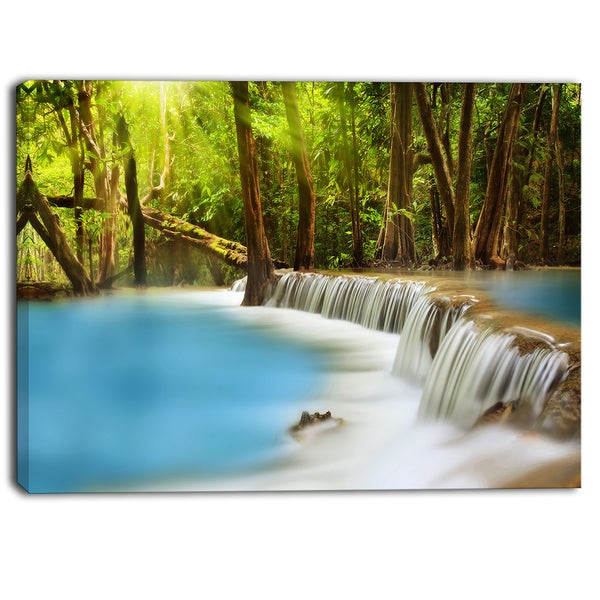 Designart - Huai Mae Kamin Waterfall Photography Canvas Art Print