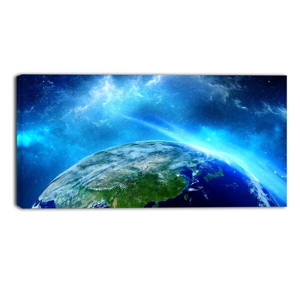 Designart - Planet Earth in Universe Contemporary Canvas Art Print