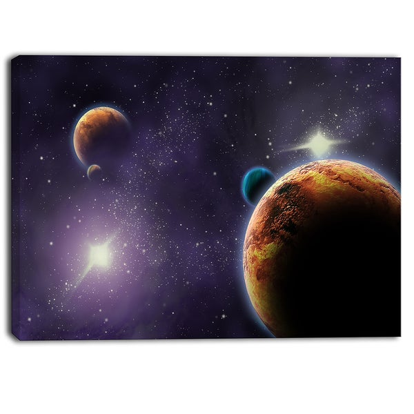 Designart - Planets in Deep Dark Space Contemporary Artwork