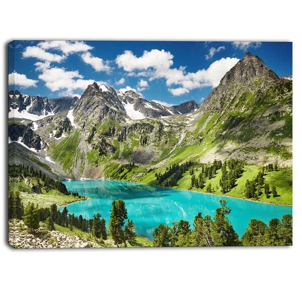 Designart - Mountain Lake and Blue Sky Photo Canvas Art Print