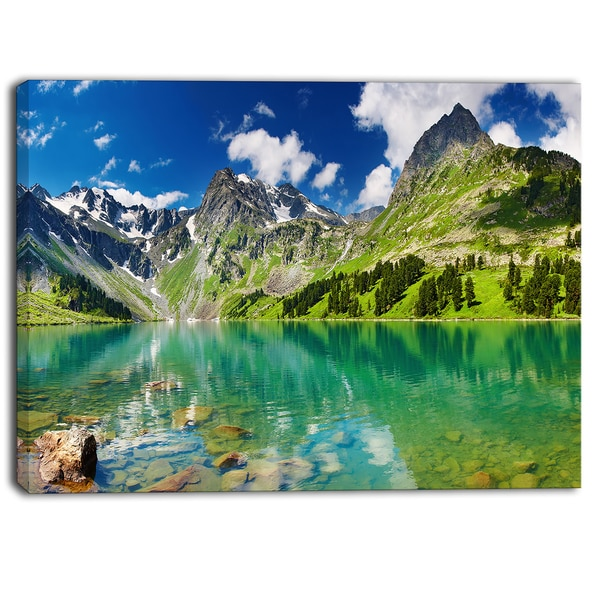 Designart - Bright Day Mountain Lake Photography Canvas Art Print