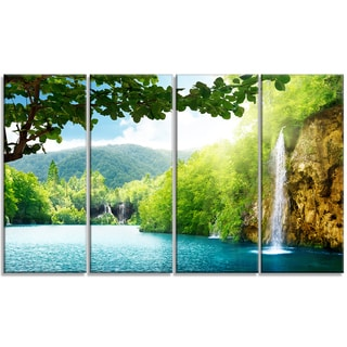 Designart - Waterfall in Deep Forest - 4 Panels Landscape Photography Canvas Print