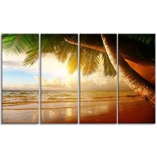 Designart - Caribbean Beach Sunrise - 4 Panels Landscape Photo Canvas Art Print