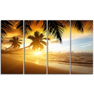 Designart - Sunset over Caribbean Sea - 4 Panels Photo Canvas Art Print