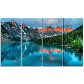 Designart - Moraine Lake Sunrise - 4 Panels Landscape Photography Canvas Print