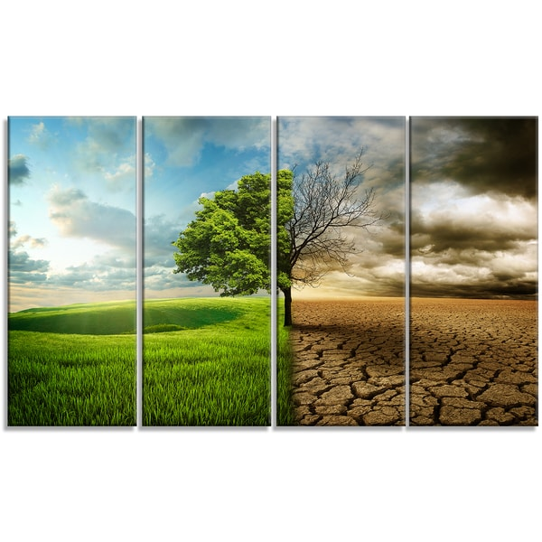 Designart - Global Warming - 4 Panels Landscape Contemporary Canvas Art Print