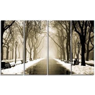 Designart - Fog in Alley Vintage Style - 4 Panels Landscape Photo Canvas Print