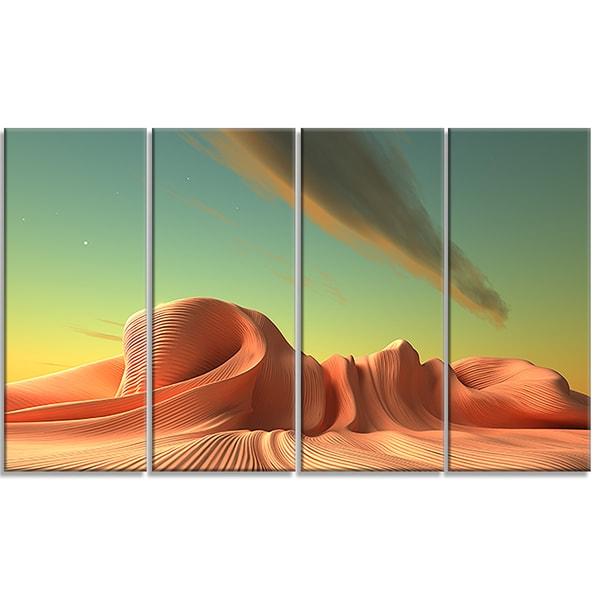 Designart - 3D Alien World Surreal Fantasy - 4 Panels Contemporary Artwork