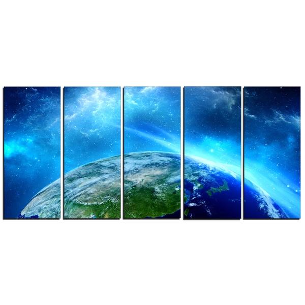 Designart - Planet Earth in Universe - 5 Piece Contemporary Canvas Art Print