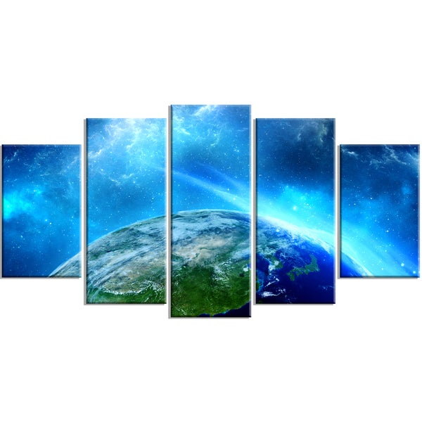 Designart - Planet Earth in Universe - 5 Piece Contemporary Canvas Art Print