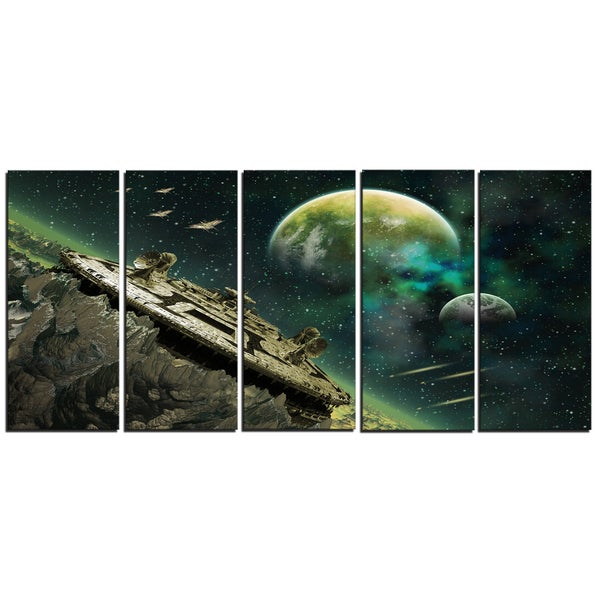 Designart - Alien Planet - 5 Piece Digital Artwork Print on Canvas