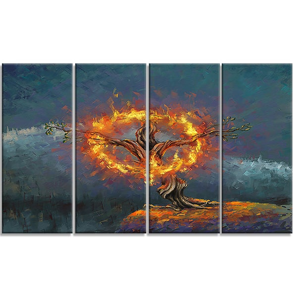Designart - God in the Burning Bush - 4 Piece Landscape Canvas Art Print