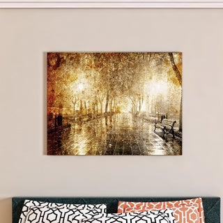 Designart - Night Alley with Lights Photography- Landscape Canvas Print