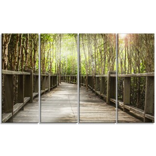 Designart - Wooden Bridge in Forest - 4 Panels Landscape Photography Canvas Print
