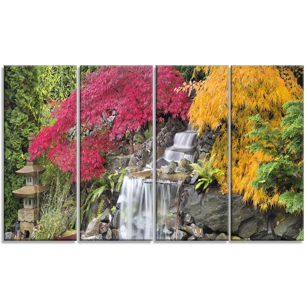 Designart - Japanese Maple Trees - 4 Panels Floral Photography Canvas Print