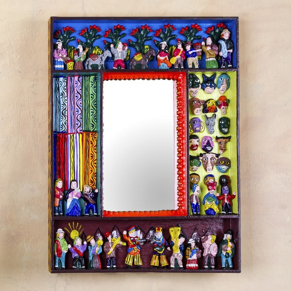 Handcrafted Ceramic 'Scenes from the Andes' Mirror (Peru)