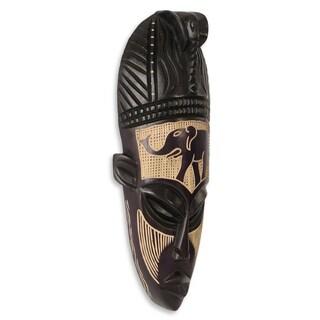 Handcrafted Sese Wood 'African Elephant Spirit II' Mask (Ghana)
