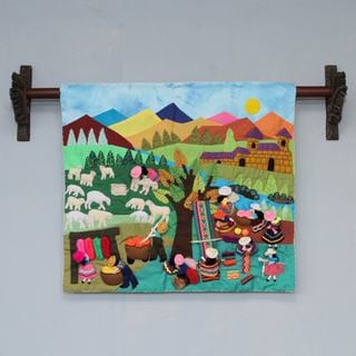 Handcrafted Applique 'Working with Wool' Wall Hanging (Peru)
