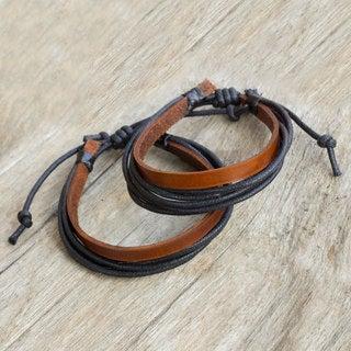 Set of 2 Men's Leather 'Bold Contrast' Bracelets (Thailand)