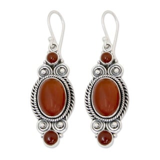 Handcrafted Sterling Silver 'Johari Sunset' Onyx Earrings (India)