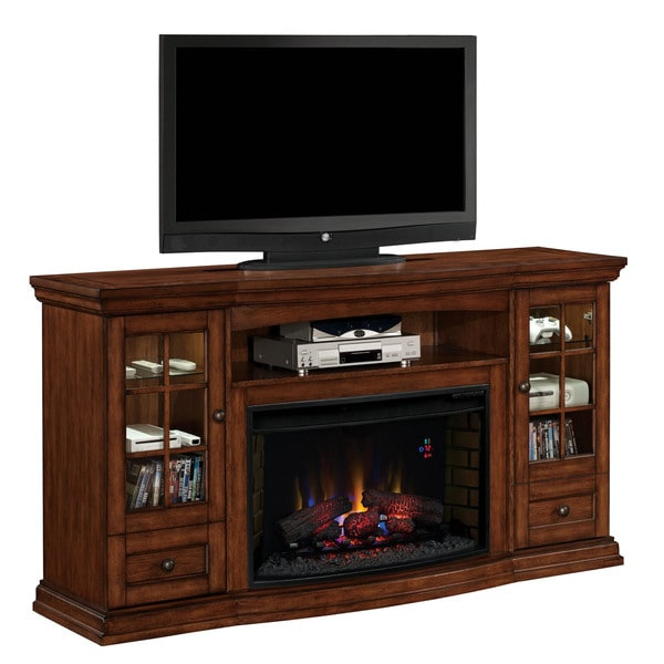 Seagate Tv Stand With 32 Inch Curved Infrared Quartz Fireplace Pecan 18335963 Overstock