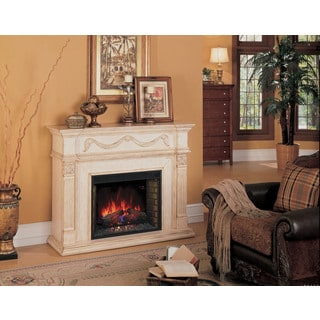 Gossamer Wall Mantel with 28-inch Infrared Quartz Fireplace - Antique Ivory