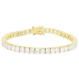 Dolce Giavonna Gold Over Silver or Sterling Silver Cubic Zirconia Tennis Bracelet