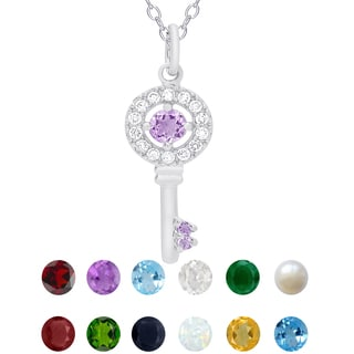 Dolce Giavonna Sterling Silver Birthstone and Cubic Zirconia Key Nekclace