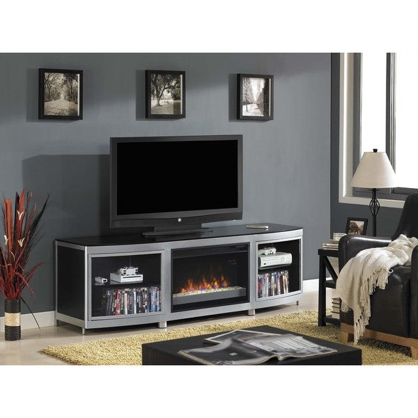 Gotham TV Stand for TVs up to 80-inch with 26-inch Contemporary Infrared Quartz Fireplace - Silver/ Black