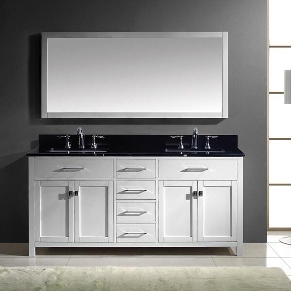 Caroline 72-inch Double Bathroom Vanity Cabinet Set in White