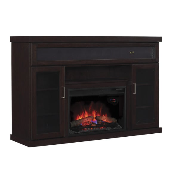 Tenor TV Stand with Speakers for TVs up to 65-inch with 26-inch Infrared Quartz Fireplace - Espresso
