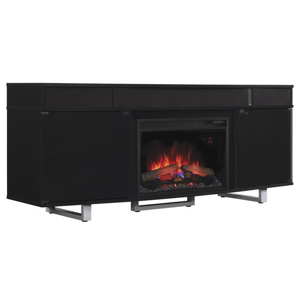 Enterprise TV Stand with Speakers with 26-inch Infrared Quartz Fireplace - Gloss Black