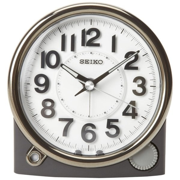 Seiko Bedside Alarm Clock Black Case with Silver-Tone Trim