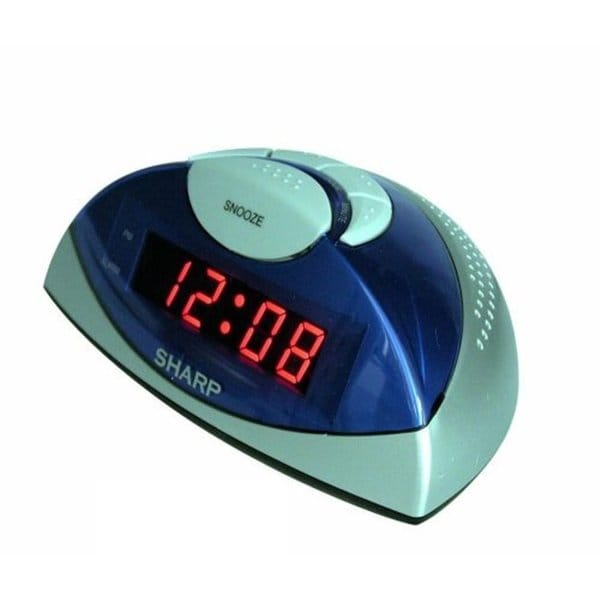 Sharp LED Alarm Clock (Blue/Silver)