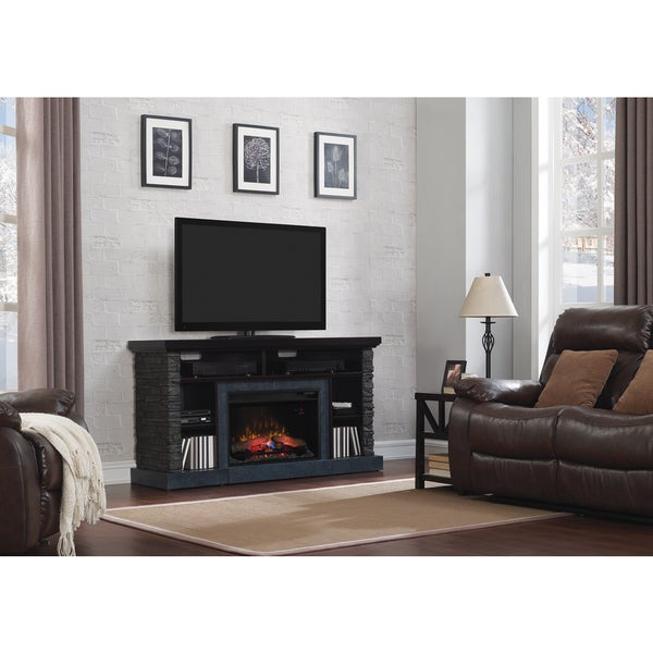 Matterhorn TV Stand for TVs up to 65-inch with 26-inch Electric Fireplace - Caribbean Mahogany