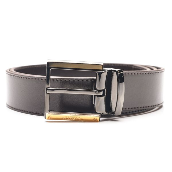 Versace Collection Men's Dark Brown Italian Leather Goldtone Buckle Belt