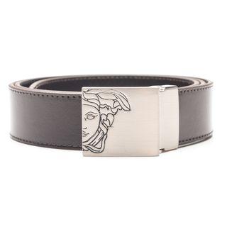 Versace Collection Men's Dark Brown Solid Medusa Head Leather Belt
