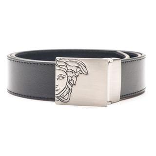 Versace Collection Men's Black Solid Medusa Head Leather Belt