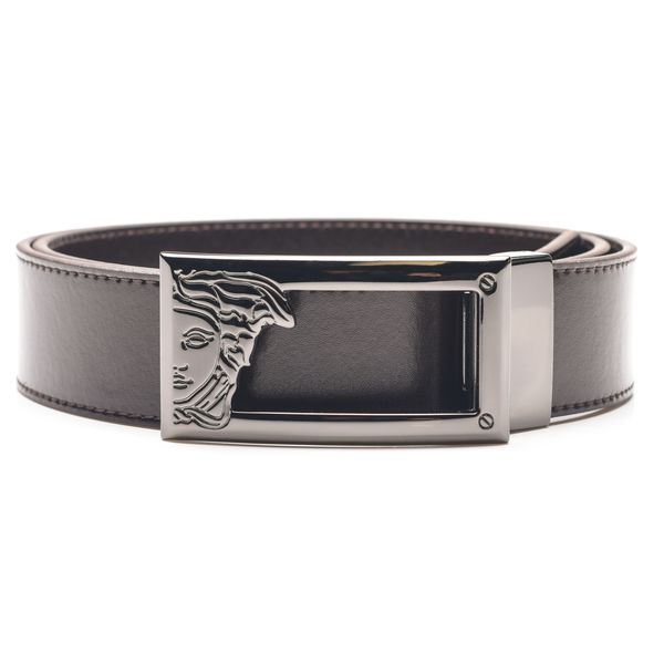 Versace Collection Men's Dark Brown Medusa Head Cut Out Leather Belt