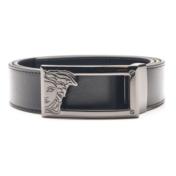 Versace Collection Men's Black Medusa Head Cut Out Leather Belt
